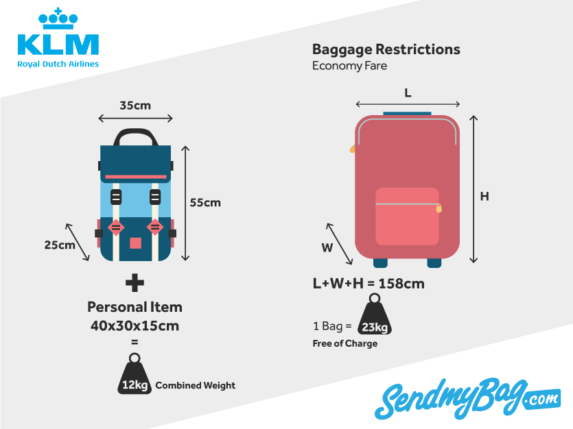653bbfb8ba KLM Baggage Allowance for Hand Luggage   Checked Baggage 2018 ...