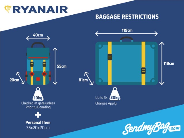 2018 Ryanair Baggage Allowance For Hand & Hold Luggage ...
