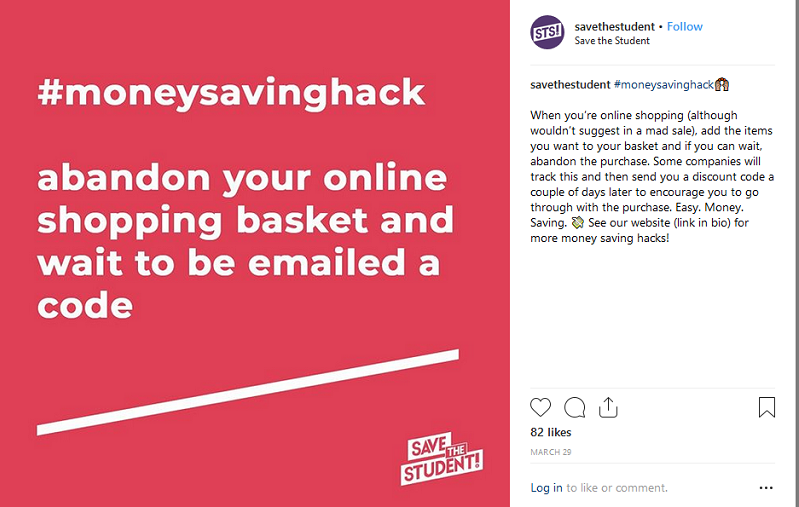 Best Instagram Accounts: @savethestudent money saving