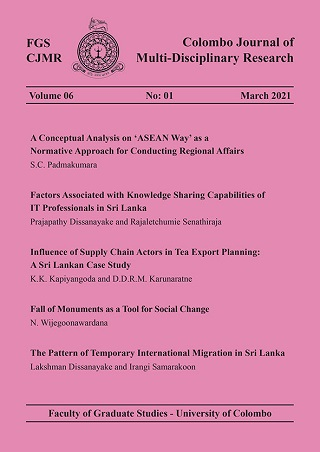 cover image for the Colombo Journal of Multi-Disciplinary Research journal