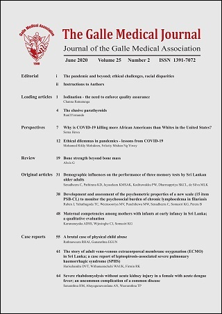 cover image for the Galle Medical Journal journal