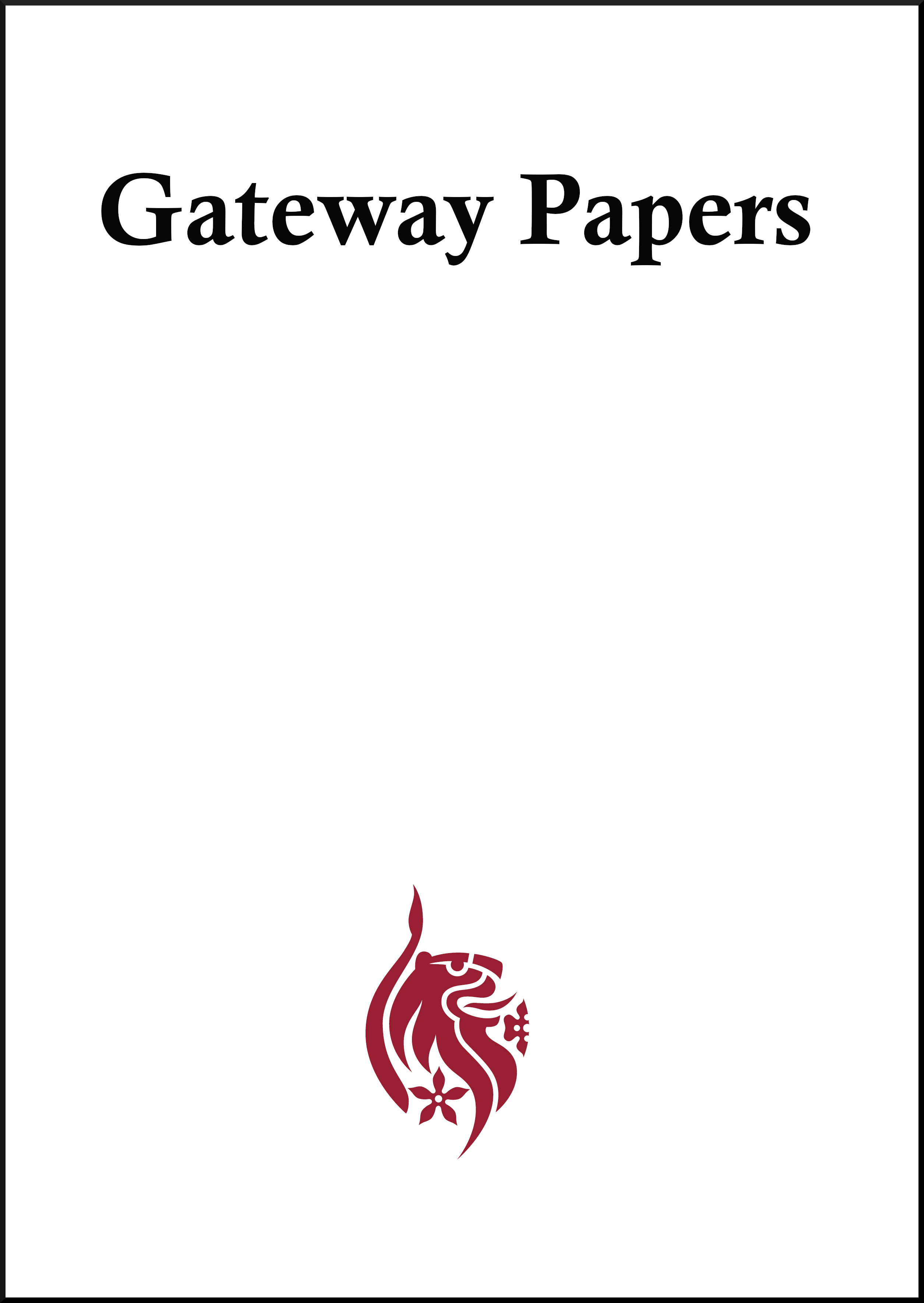 cover image for the Gateway Papers: A Journal of Education and Pedagogic Research journal