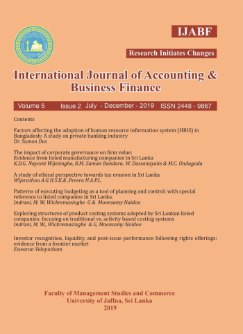 cover image for the International Journal of Accounting and Business Finance journal