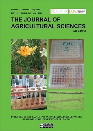 cover image for the Journal of Agricultural Sciences – Sri Lanka journal
