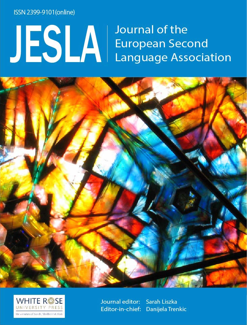 cover image for the Journal of the European Second Language Association journal