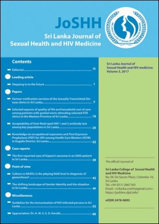 cover image for the Sri Lanka Journal of Sexual Health and HIV Medicine journal