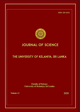 cover image for the Journal of Science of the University of Kelaniya Sri Lanka journal