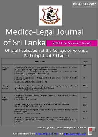 cover image for the Medico-Legal Journal of Sri Lanka journal