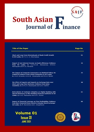 cover image for the South Asian Journal of Finance journal