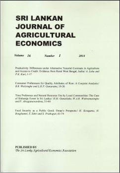 cover image for the Sri Lankan Journal of Agricultural Economics journal