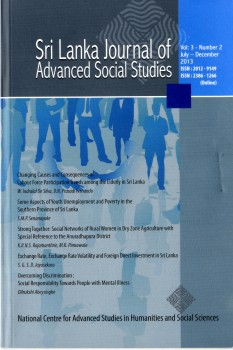 cover image for the Sri Lanka Journal of Advanced Social Studies journal