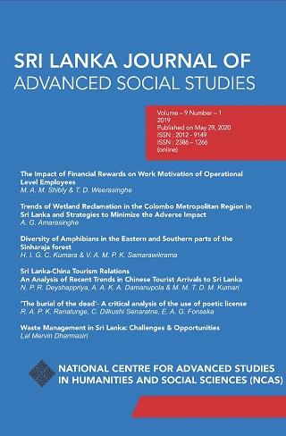 cover image for the Sri Lanka Journal of Advanced Social Studies journal