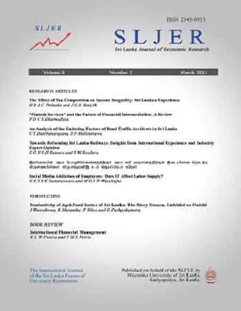 cover image for the Sri Lanka Journal of Economic Research journal