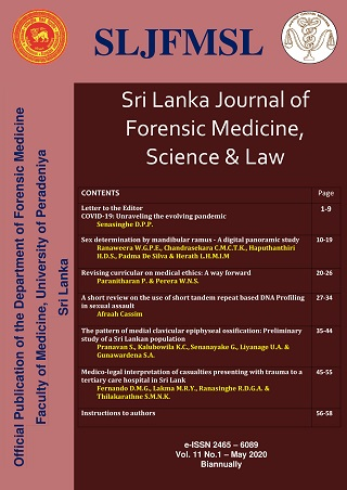 cover image for the Sri Lanka Journal of Forensic Medicine, Science & Law journal