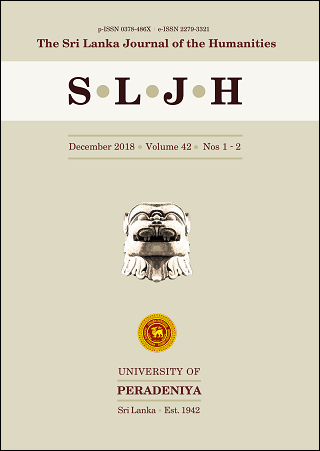 cover image for the Sri Lanka Journal of the Humanities journal