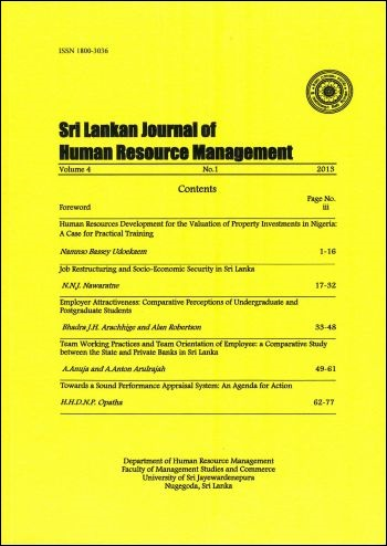 cover image for the Sri Lankan Journal of Human Resource Management journal