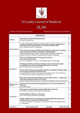 cover image for the Sri Lanka Journal of Medicine journal
