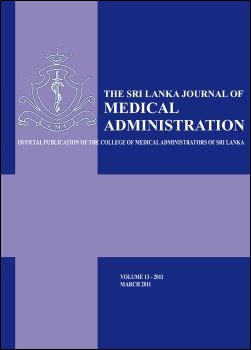 cover image for the Sri Lankan Journal of Medical Administration journal