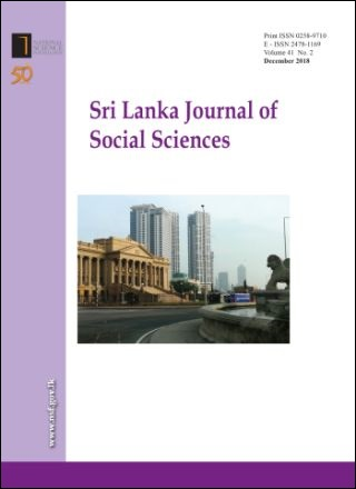 cover image for the Sri Lanka Journal of Social Sciences journal