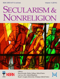 cover image for the Secularism and Nonreligion journal