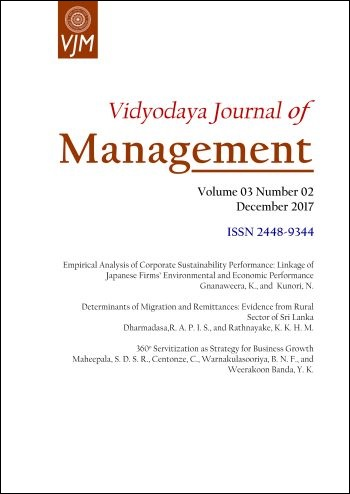 cover image for the Vidyodaya Journal of Management journal