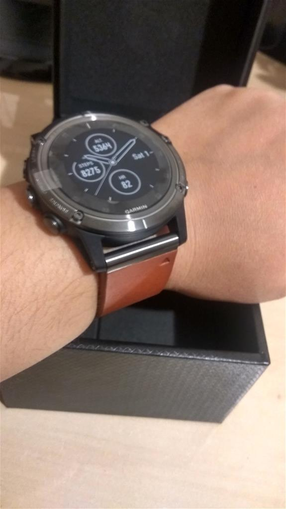 Garmin Watch Fenix 5x Plus Sapphire Slate Grey Brown Leather Band