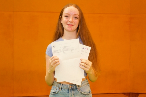 Phoebe O'Connor celebrates her A*, A & B grades and will study Geography at Liverpool