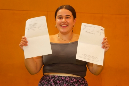 Alice Hagan celebrates her 2 A* and 1 grades