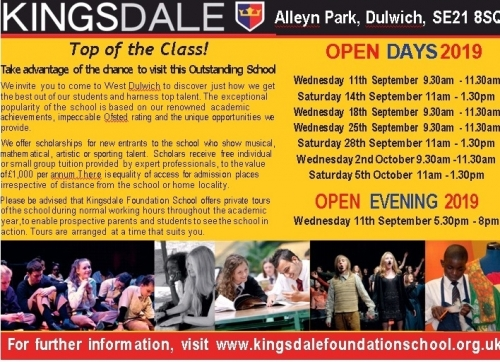 Year 6 Open Days September 2019