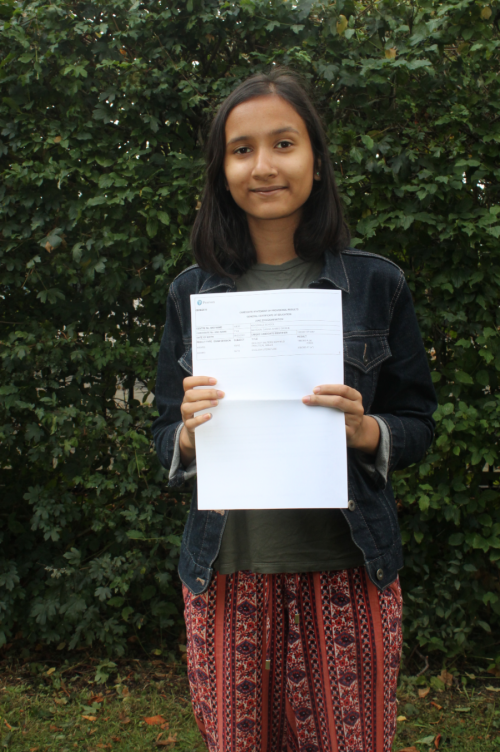 Saahia Mayenin will be using her excellent A* & A grades to study English at King's College, London
