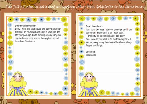 Goldilocks sorry letters