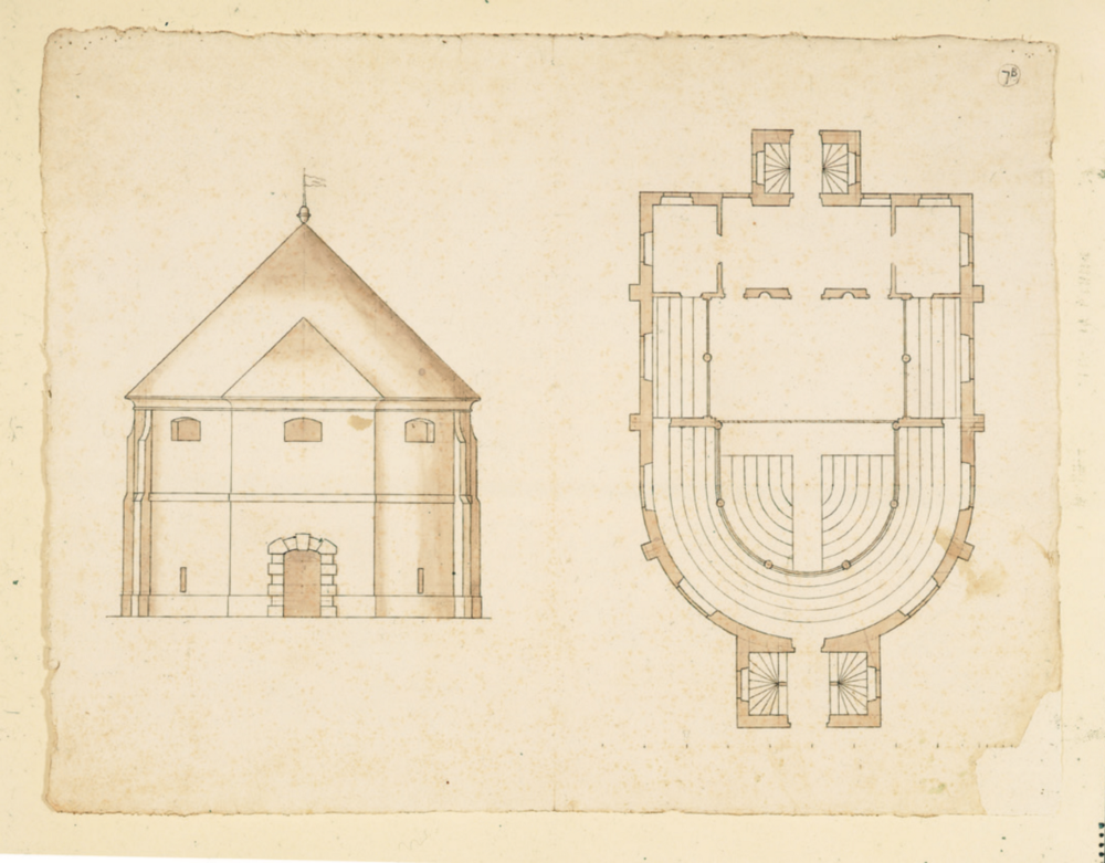 Architectural drawings for an indoor playhouse
