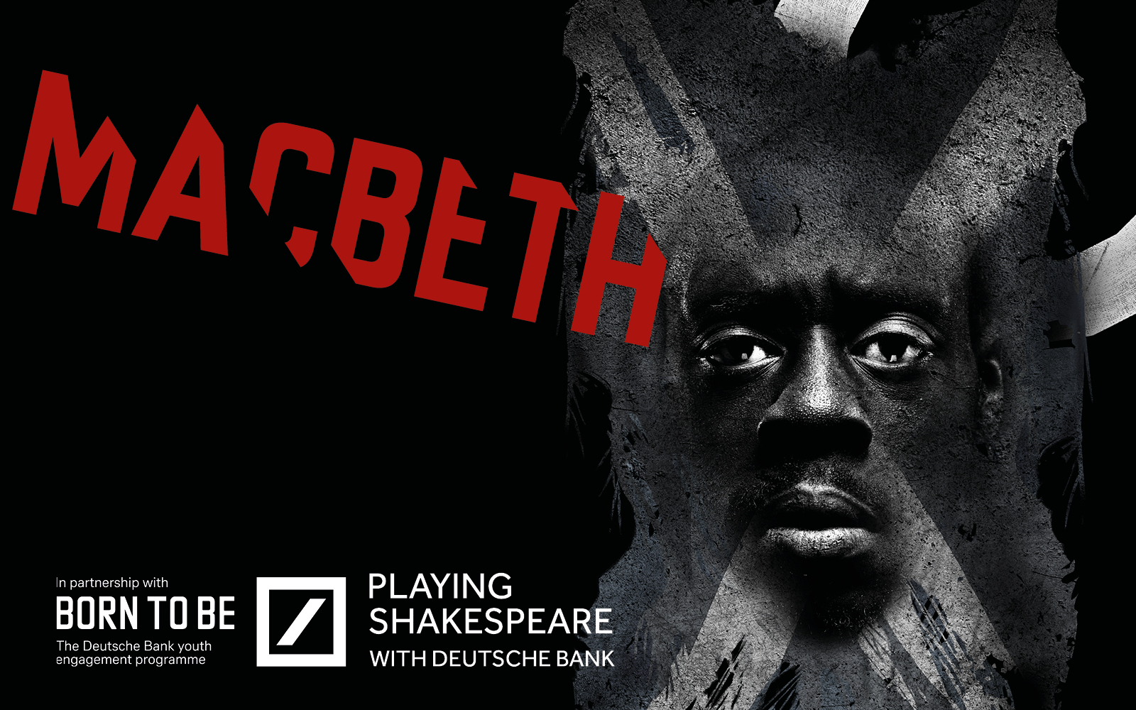 A graphic image of a man's face and the words Macbeth