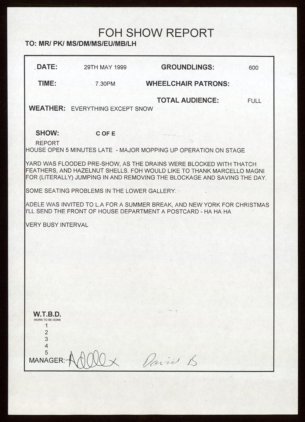 A document detailing a show report