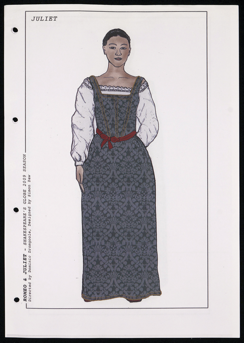 A costume sketch for Juliet, with a blue corset dress.