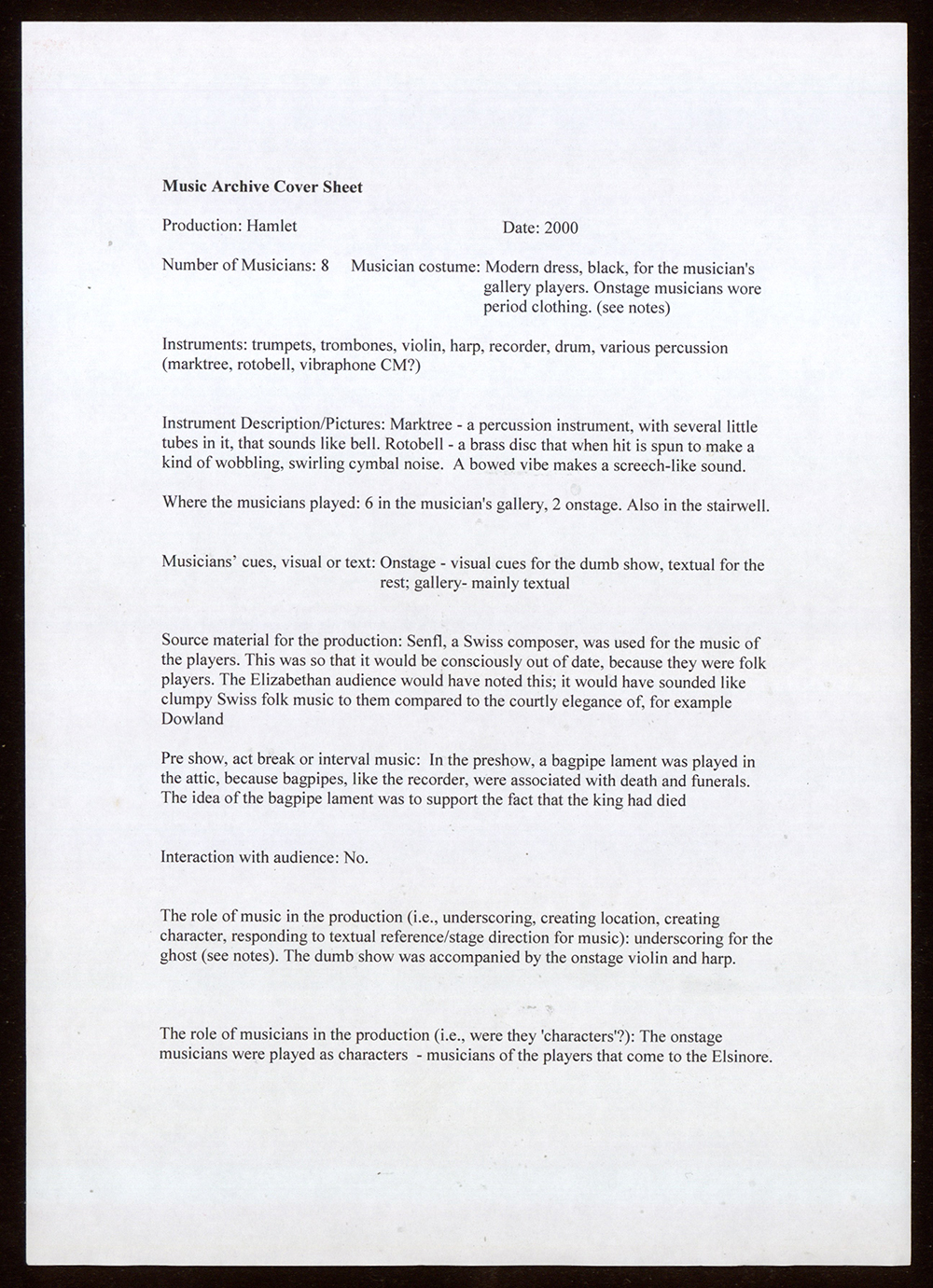 A document listing the music in Hamlet.