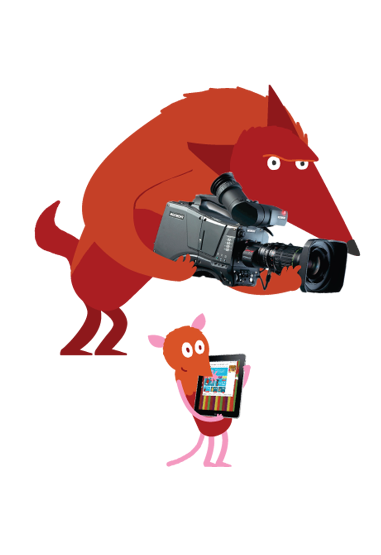 An illustration of animals carrying video recording equipment