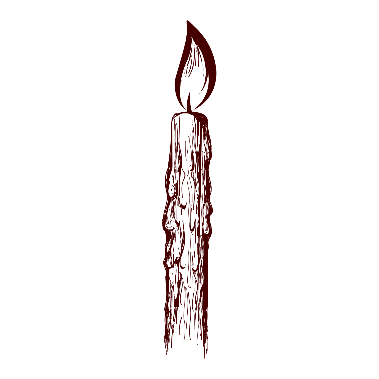 An illustration of a lit candle, dripping wax.