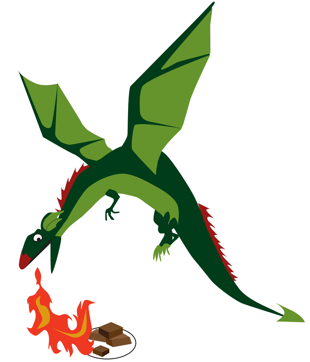 An illustration of a dragon breathing fire on some brownies