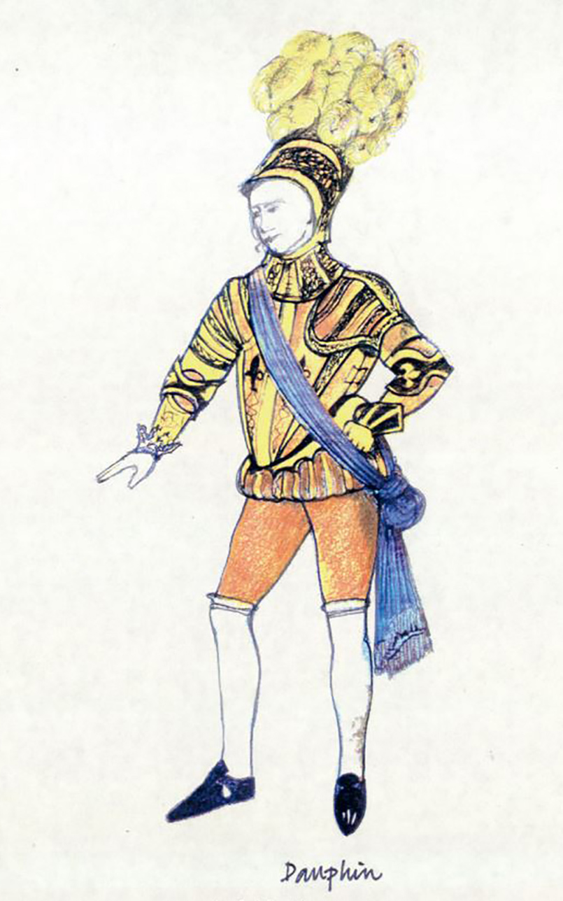 A costume design sketch for a prince with a plume helmet and golden doublet and hose.