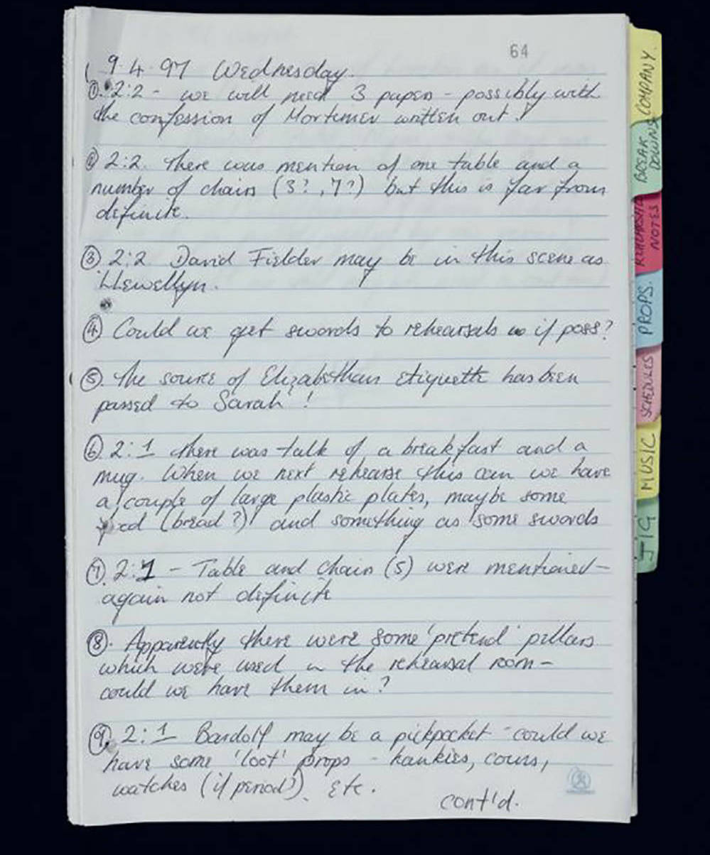 A promptbook with writing.