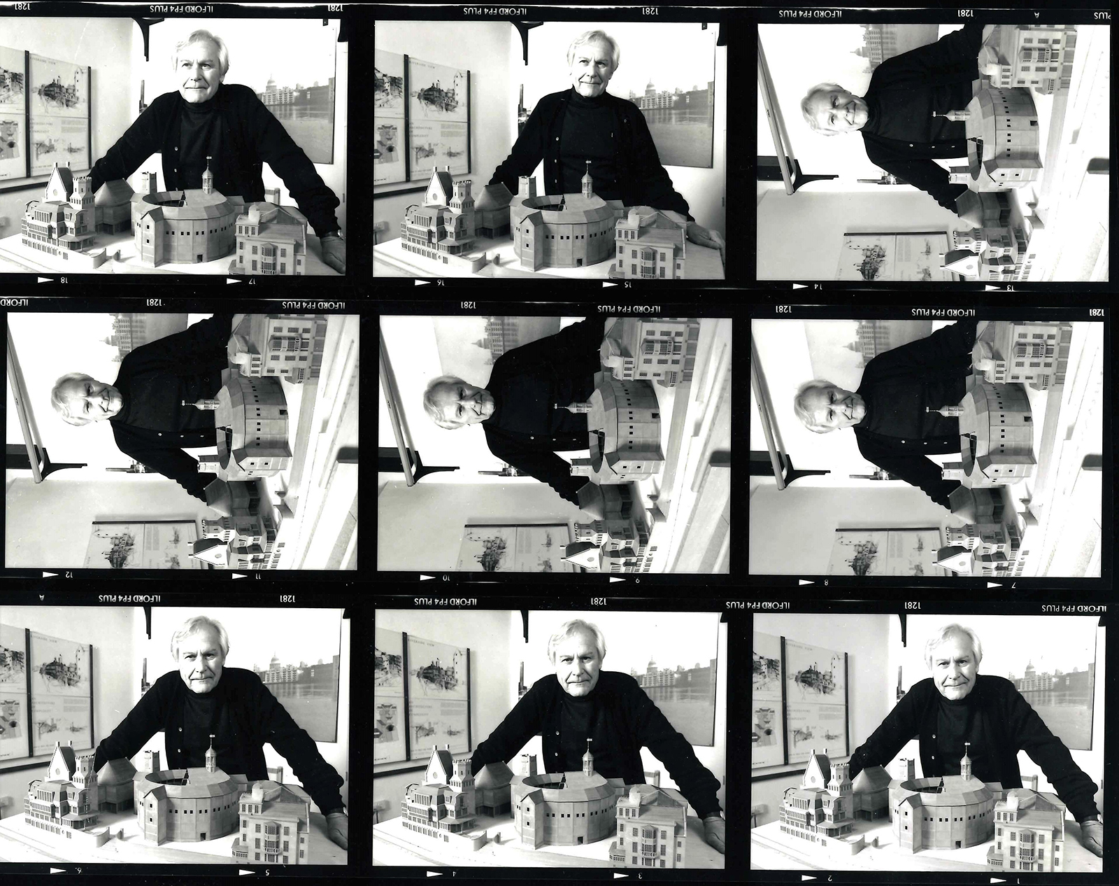 A strip of photographs of a man standing behind a model of a circular theatre.