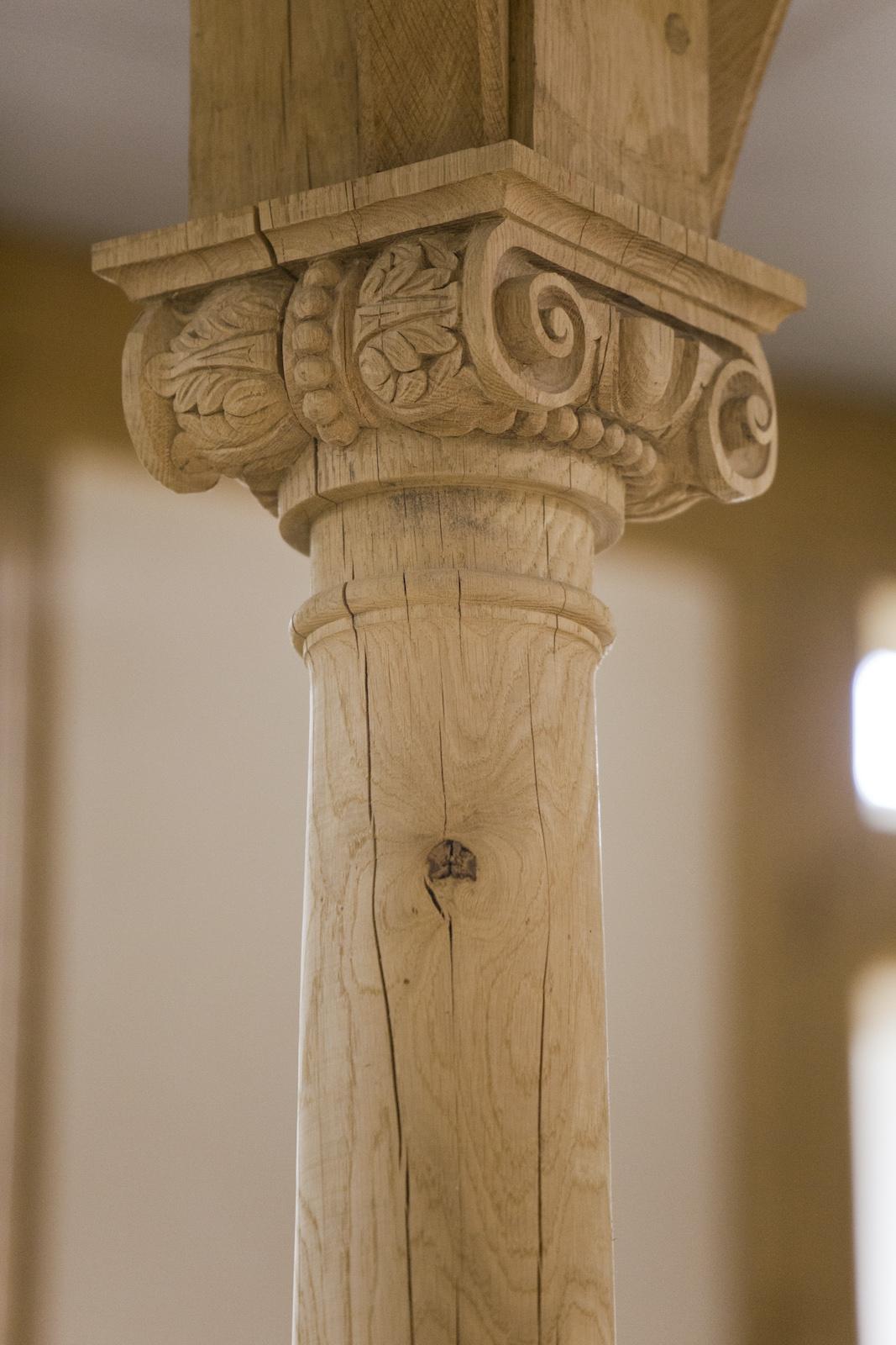A single wooden beam