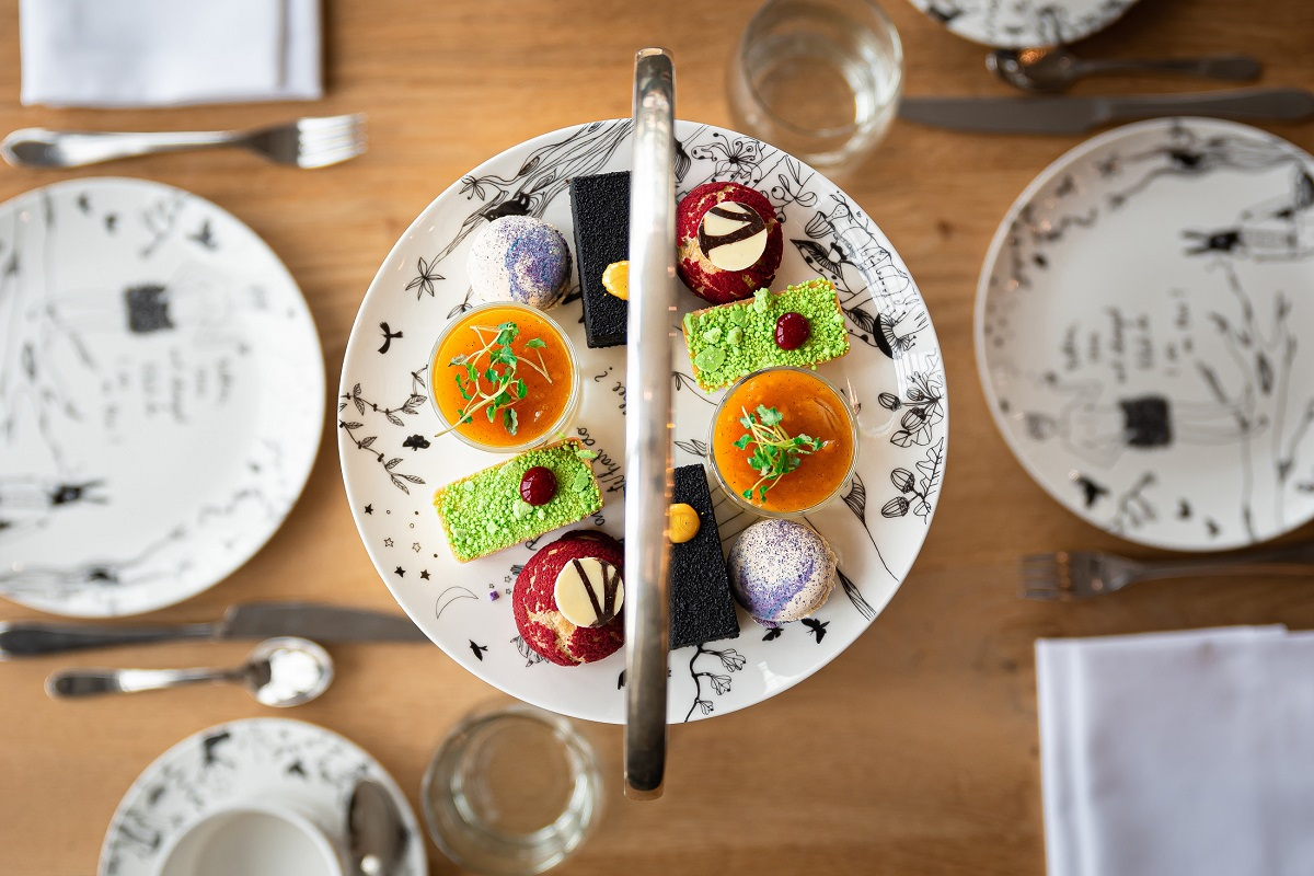 A plate of colourful desserts