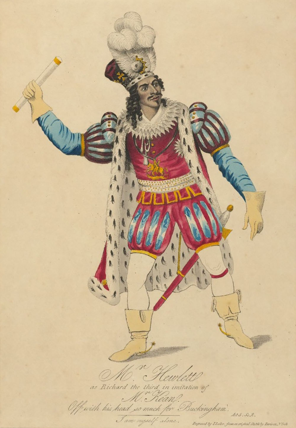 A drawing of an actor wearing regal dress for Richard III
