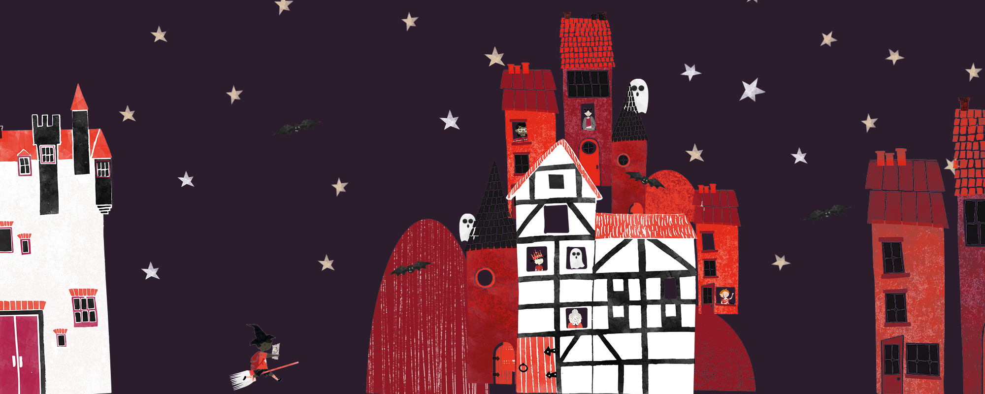 Cartoon of a house with ghost, stars, bats and witches