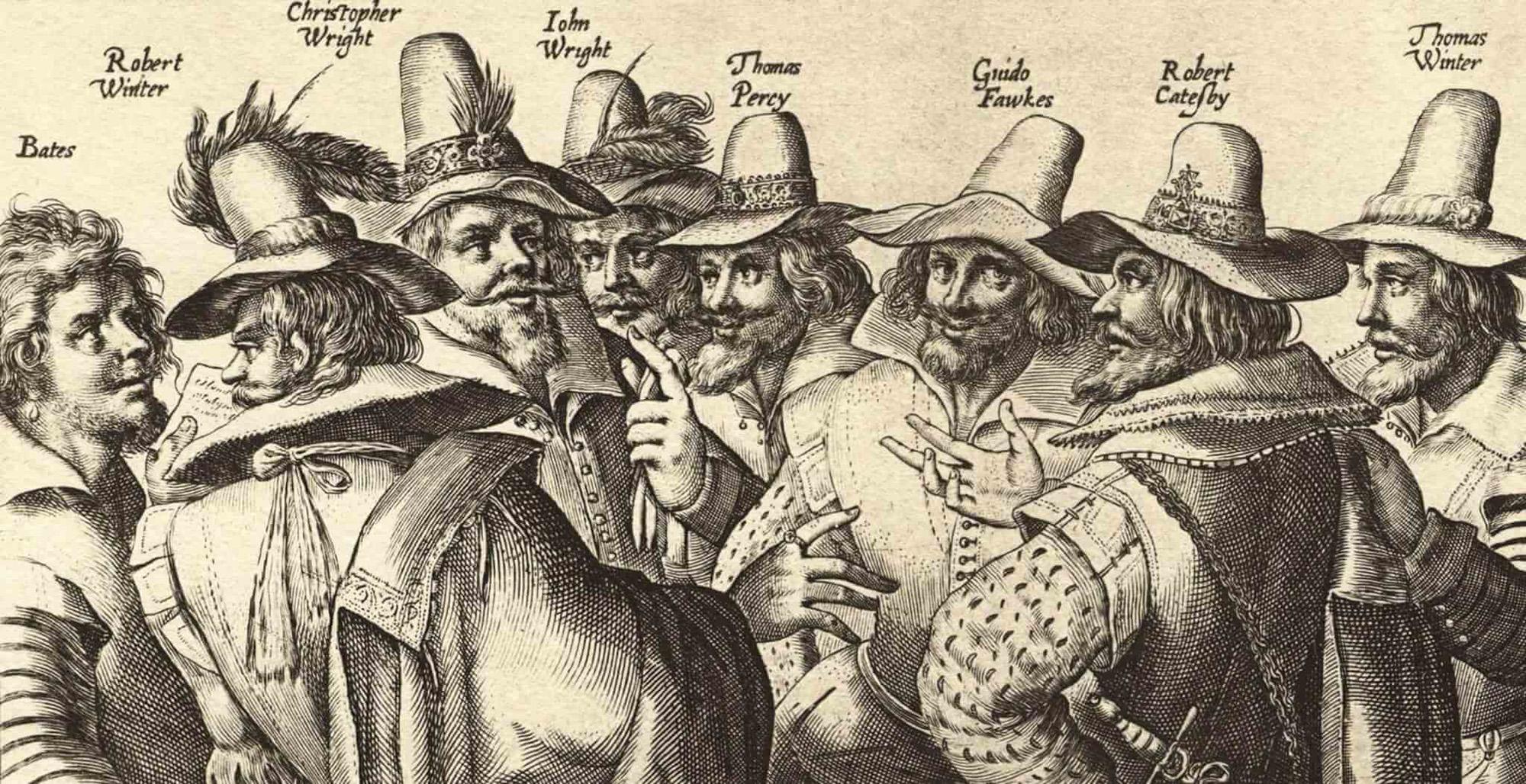 Illustration of the conspirators of the Gunpowder Plot
