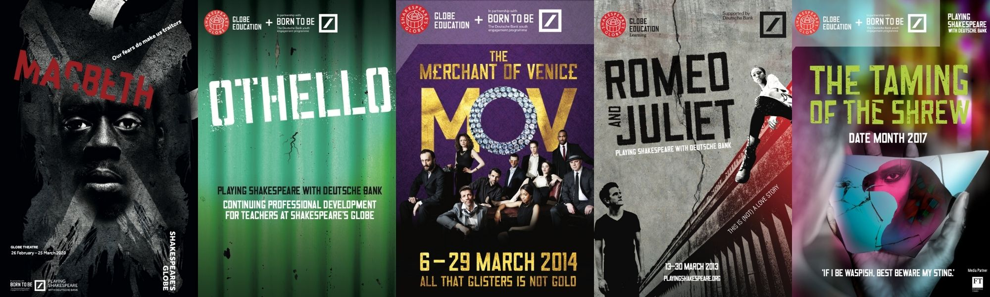 A collage of five posters from previous shows including Othello and Romeo and Juliet