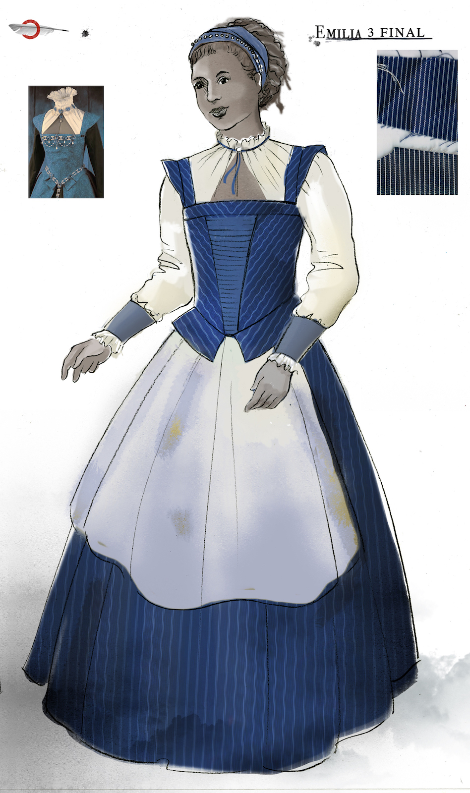 A costume sketch of a blue and white Elizabethan dress