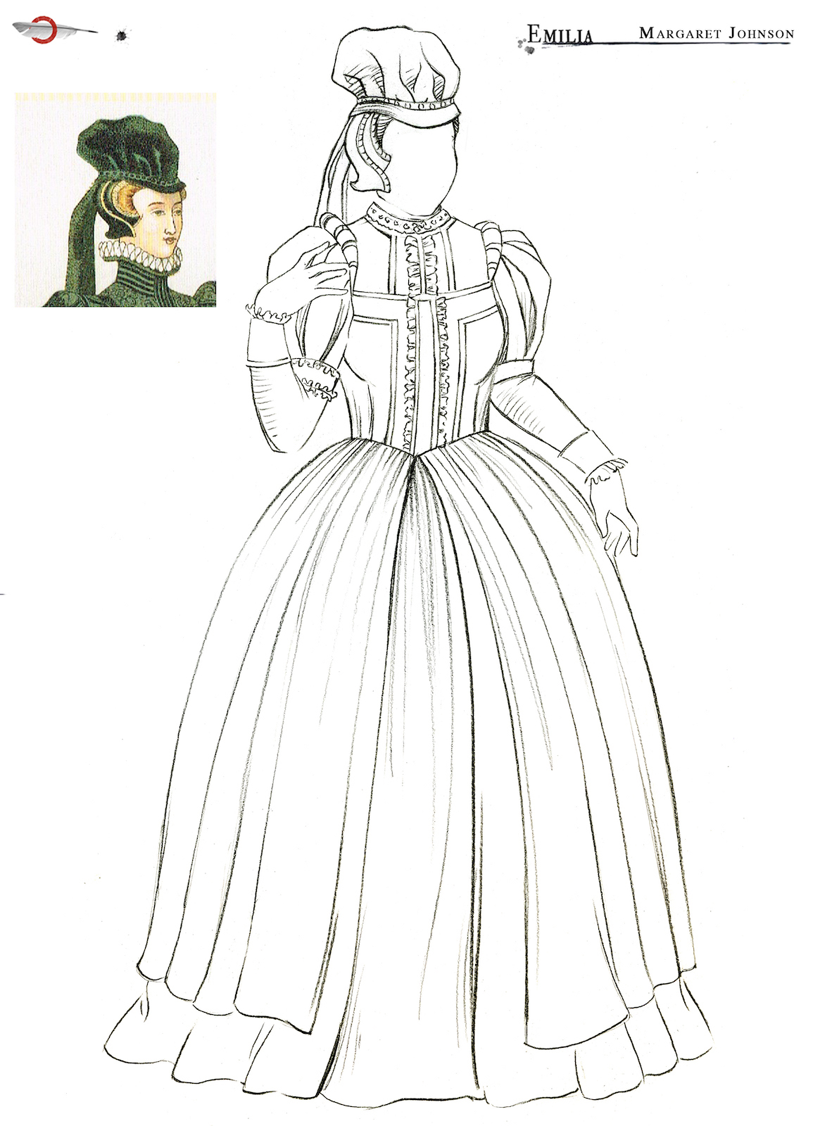 An outline sketch of an Elizabethan dress and headwear